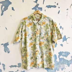 Patagonia Yellow Tropical Flower Hawaiian Shirt